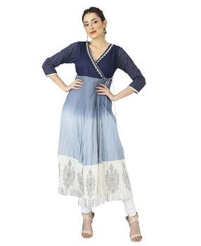 Indigo Blue tye dye, block printed angarakha tunic, s, indigo blue