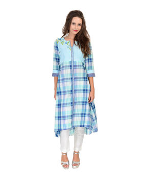 Blue and Green checks cotton kurta, blue and green, l