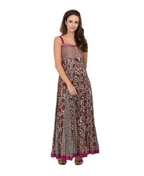 Grey and Maroon block printed strappy cotton dress, grey and maroon, s
