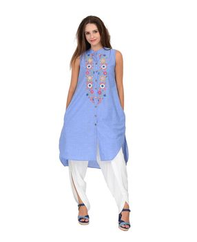 Blue cotton chambray woven motif kurta., blue, xs