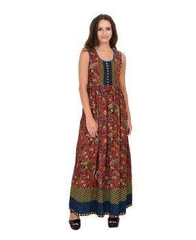 Rust kalamkari printed cotton dress, l, rust