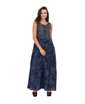 Indigo blue bock printed pleated linen dress, indigo blue, m