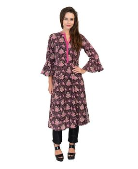 Black and onion pink block printed cotton kurta, black and onion pink, m
