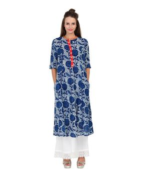 Indigo Blue block printed cotton panel kurta., indigo blue, 2xl