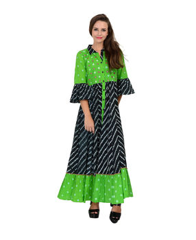 Green and Black bandani print shibori tye dye cotton panel dress, green and black, xl