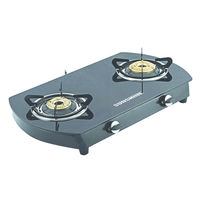 Sunshine Alfa Oval MS Double Burner Toughened Glass Gas Stove, lpg, manual