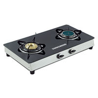 Sunshine Ceramic Double Burner Toughened Glass Top Gas Stove, lpg, manual