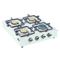 Sunshine Ceramic Four Burner Stainless Steel Gas Stove, lpg, manual