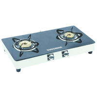 Sunshine Alfa SS Double Burner Toughened Glass Gas Stove, lpg, manual