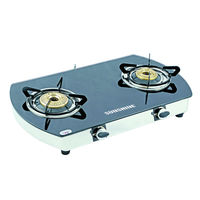Sunshine Alfa Oval SS Double Burner Toughened Glass Gas Stove, lpg, manual