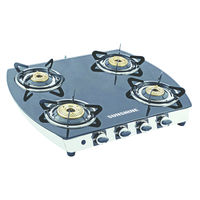 Sunshine Alfa Oval SS Four Burner Toughened Glass Gas Stove, lpg, manual