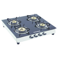 Sunshine Alfa SS Four Burner Toughened Glass Gas Stove, lpg, manual