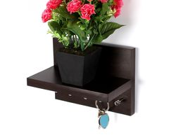 Regis Keyhold - Wall Mounted Key Holder / Key Rack Hooks with Dé cor Shelf - Skywood Wenge