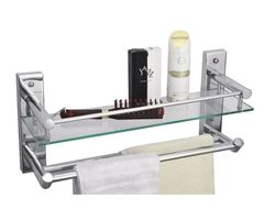 CiplaPlast Bathroom Glass Shelf with Double Towel Rods - Global 224G