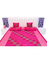 Halowishes Pink Color Base Chess Design Silk Double Bed Cover Cushion Set 403
