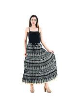 Halowishes Jaipuri Regular Fit Black Full Long Cotton Skirt