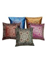 Halowishes Awesome Zari and Jacquard Work Cushion Cover 5 Pc. Set - 108