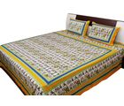 Halowishes Jaipuri Royal Wedding Print Pure Cotton Double Bed Sheet