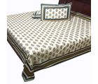 Halowishes Pure Cotton Jaipuri Gold Print Design Double Bed Sheet Home Furnishing -115