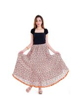 Halowishes Ethnic Girls Designer Lace Orange Cotton Skirt