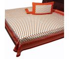 Halowishes Awesome Jaipuri Gold Print Abstract Pattern Design of Pure Cotton Double Bed Sheet Home Furnishing -114