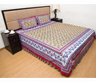 Halowishes Sanganeri Printed Multicolor Double Bed Sheet