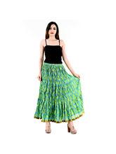 Halowishes Jaipuri Regular Fit Green Full Long Cotton Skirt