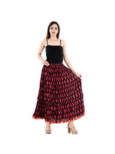 Halowishes Jaipuri Regular Fit Black Full Long Cotton Skirt
