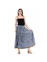 Halowishes Jaipuri Regular Fit Blue Full Long Cotton Skirt