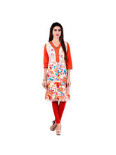 Halowishes Jaipuri Multicolor Floral Printed Cotton Kurti