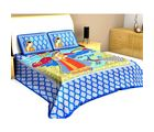 Halowishes Pure Cotton Jaipuri Dancing Peacock N Lady Printed Double Bedsheet