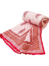 Halowishes Paisley Design Jaipuri Hand Block Reversible Single Bed Quilt