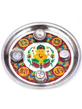 Ethnic Treat Designer Meenakari Shubh Laabh Ganpati Pooja Thali 417, red