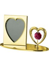 Genie Gifts Photo Frame With Heart Gold Plated Show Piece Studded With Swarovski Crystals, gold
