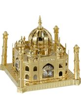Genie Gifts Gold Plated Taj Mahal Studdedd With Swarovski Crystals, gold