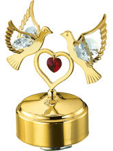 Genie Gifts Musical Base With Double Dove And Heart Gold Plated Show Piece Studded With Swarovski Crystals, gold