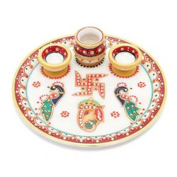 DECO JUNCTION Pooja Thali - 9 Inch, marble, multi colour, 9 inch
