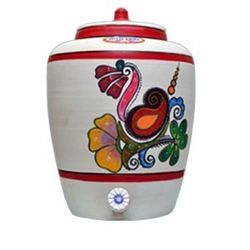 MittiCool EARTHEN WATER POT (WITH PAINTING), 15 liters, 3