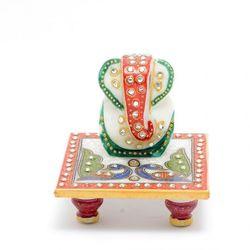 DECO JUNCTION Chowki Ganesh-Red & Green, marble  semi-precious gem stone, white, 10 x 10 x 10 cm