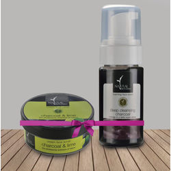 NATURAL BATH & BODY Charcoal Cream Face Scrub & Lime+ Deep Cleansing Charcoal Foaming Face Wash