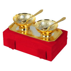 Jaipurace Premium Gifts Silver And Gold Plated Brass Bowl 5 Pcs Set