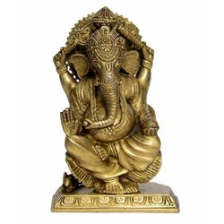 VYOM SHOP GANESH WITH FLOWER SITTING