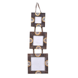 VarEesha Wooden Hanging Photo Frame Set, 300 g, brown, 6x1x18