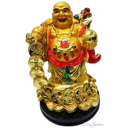(DECO JUNCTION) Golden Laughing Buddha - Standing, poly stone, golden, 13x12x18
