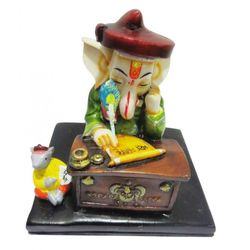 DECO JUNCTION Ganpati Writing, poly stone, multi colour, 13x13x12cm