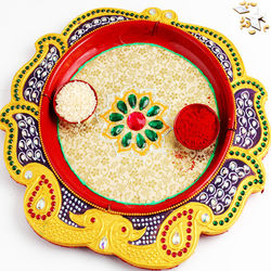 (GHASITARAM) Yellow Peacock Pooja Thali with 250 gms Kaju atli