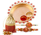 Creativity Centre Golden Charm Rakhi Thali With Dryfruits