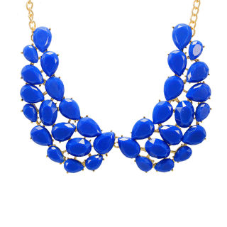 Blue Stone Studded Alloy Fashion Necklace