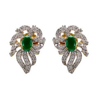 Green Stone And American Diamond Adorned Studs