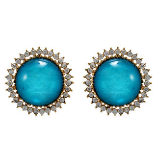 Round Blue Stone Adorned Studs For Women